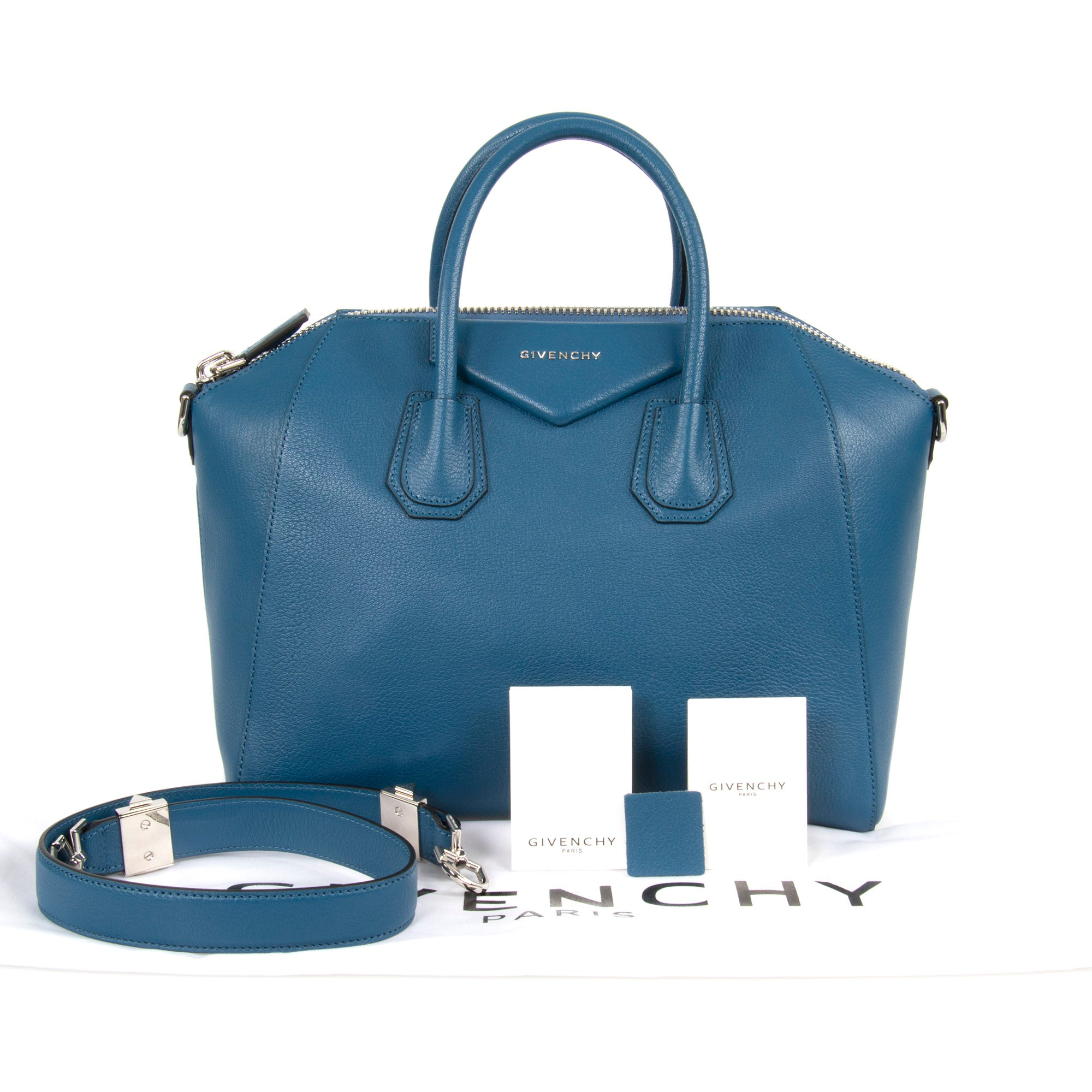 Givenchy Antigona Sugar Goatskin Leather Satchel Bag | Teal Blue with Silver Hardware | Medium