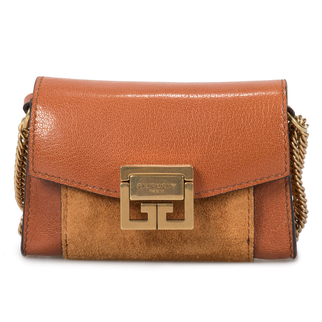 Givenchy GV3 Nano Bag in Chestnut Leather & Suede