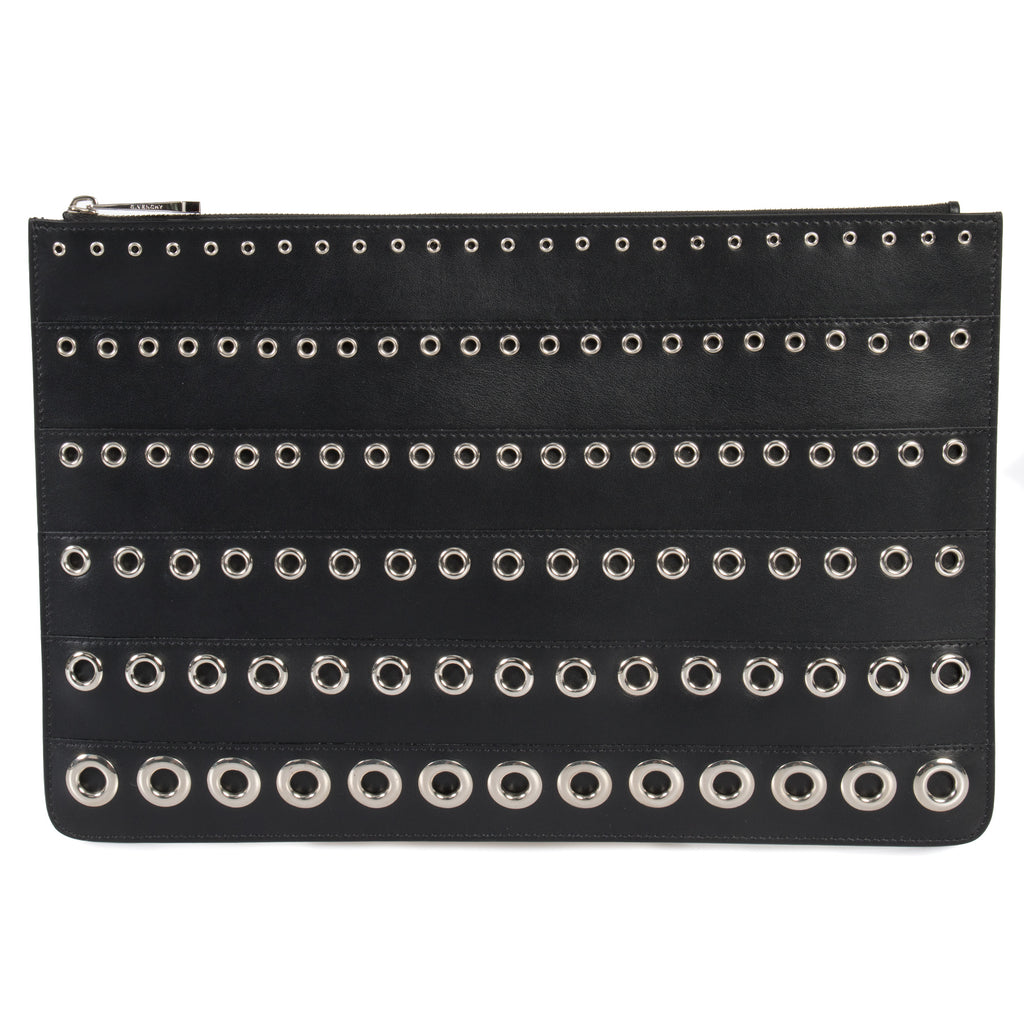 Givenchy Large Eyelet Embossed Black Pouch