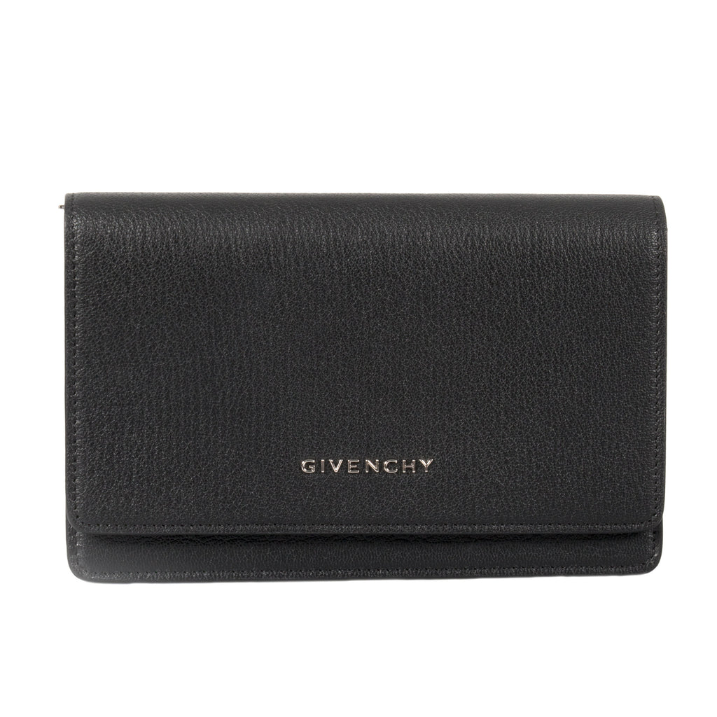 Givenchy Pandora Black Grained Leather Chain Wallet