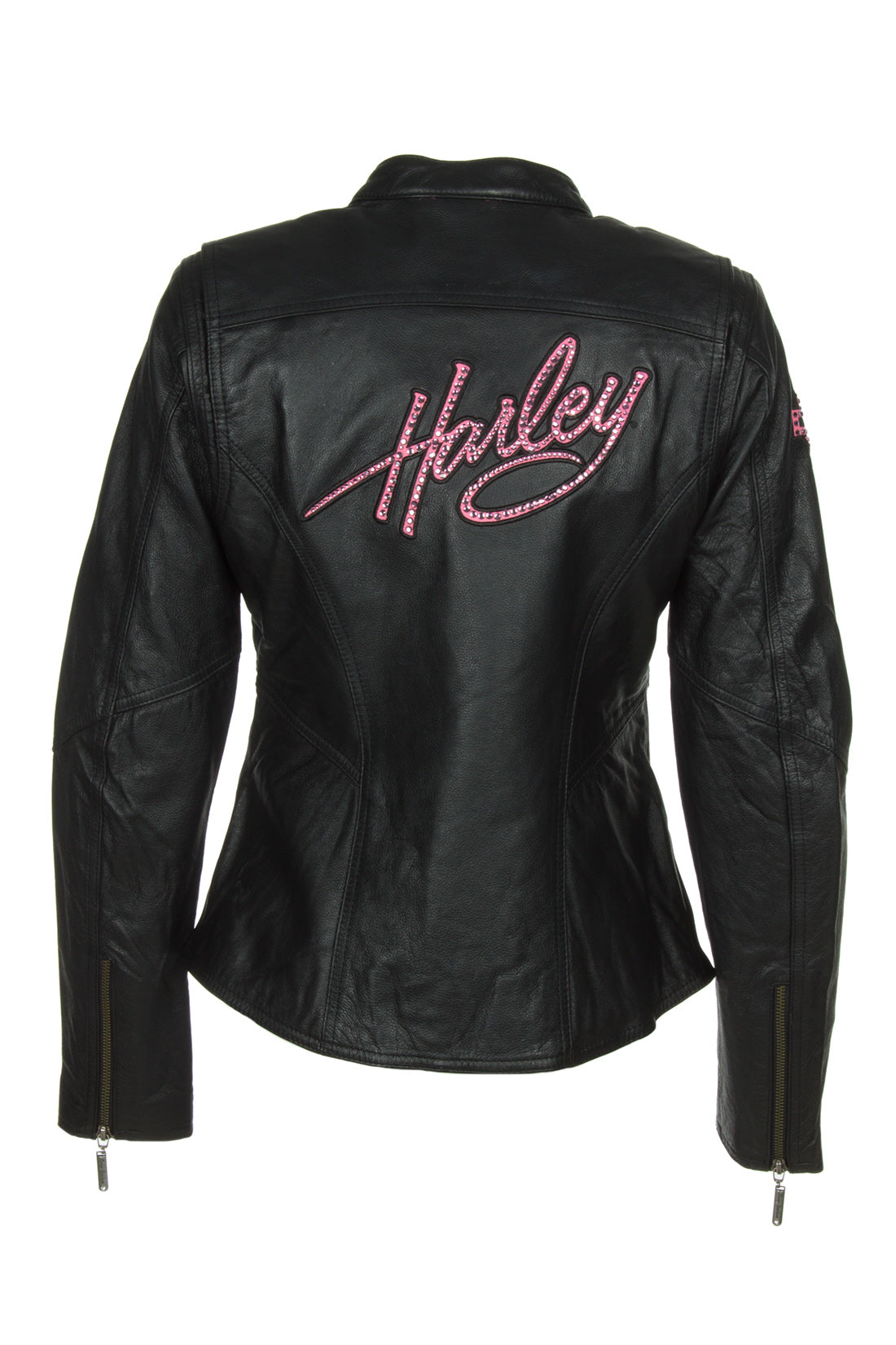Harley-Davidson 98022-12VW Womens Pink Label Embellished Black Leather Jacket