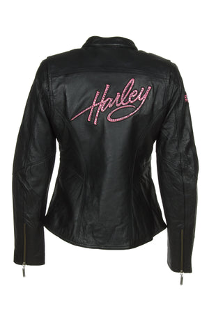Harley-Davidson 97010-14VW Womens Pink Label Colorblocked Leather Jacket