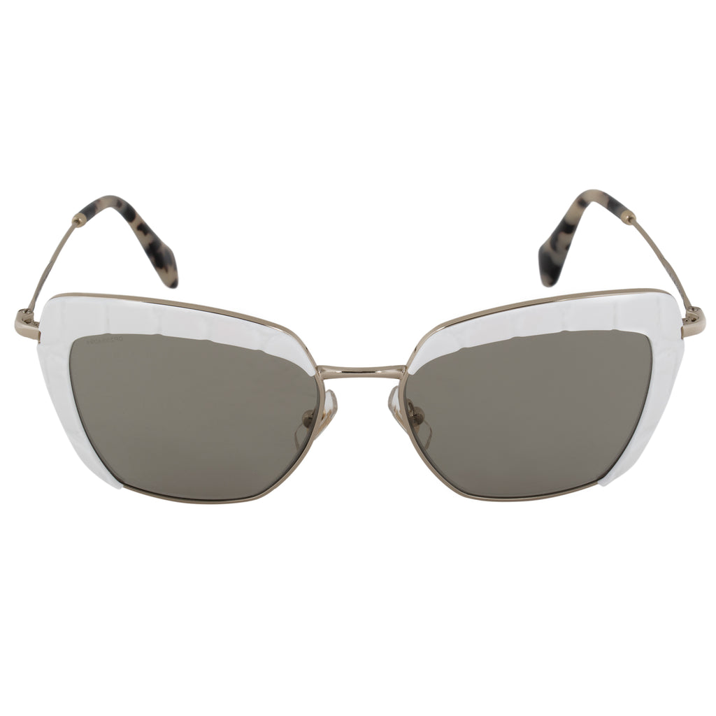 Miu Miu Square Sunglasses SMU52QS 7S35J2 53 | Gold and White Frame | Brown Lenses