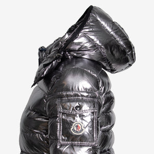 Moncler Bady Fitted Puffer Jacket Size 1 in Silver