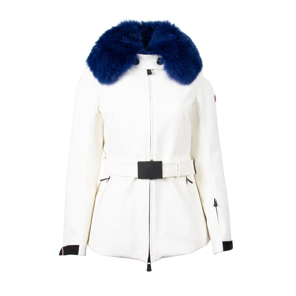 Moncler Grenoble Ecrins Fitted Jacket Size 3 in White & Blue