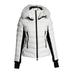 Moncler Lamoura Fur-Trimmed Down Puffer Coat Size 1 in White