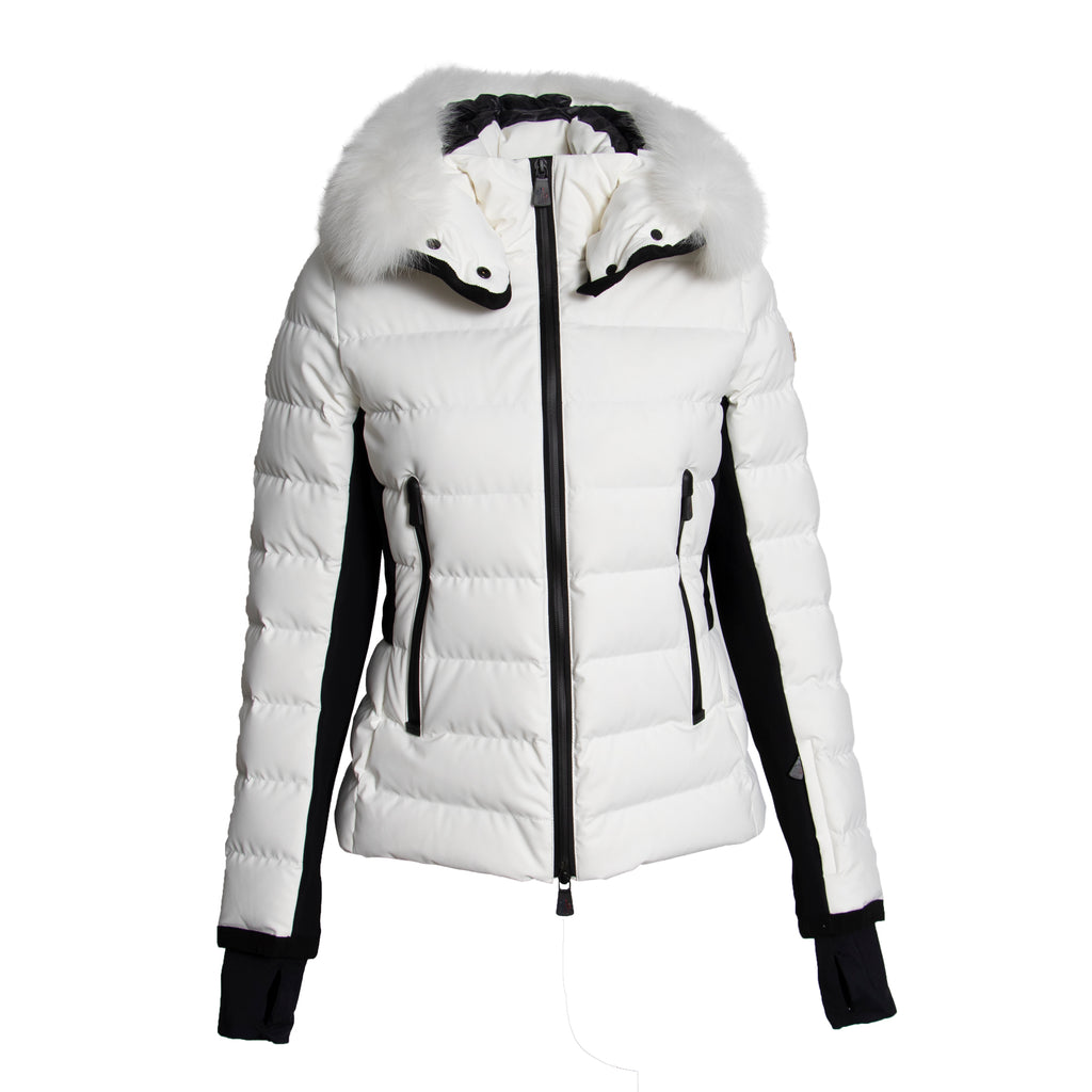 Moncler Lamoura Fur-Trimmed Down Puffer Coat Size 2 in White