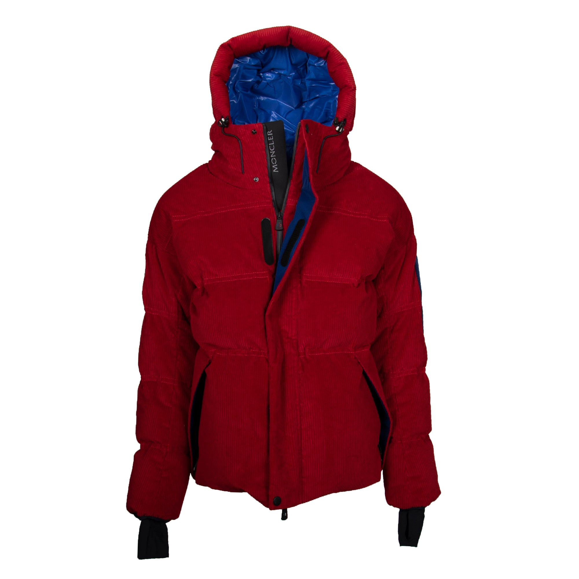 Moncler Stuller Hooded Corduroy Puffer Jacket Size 5 in Red