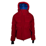 Moncler Stuller Hooded Corduroy Puffer Jacket Size 6 in Red