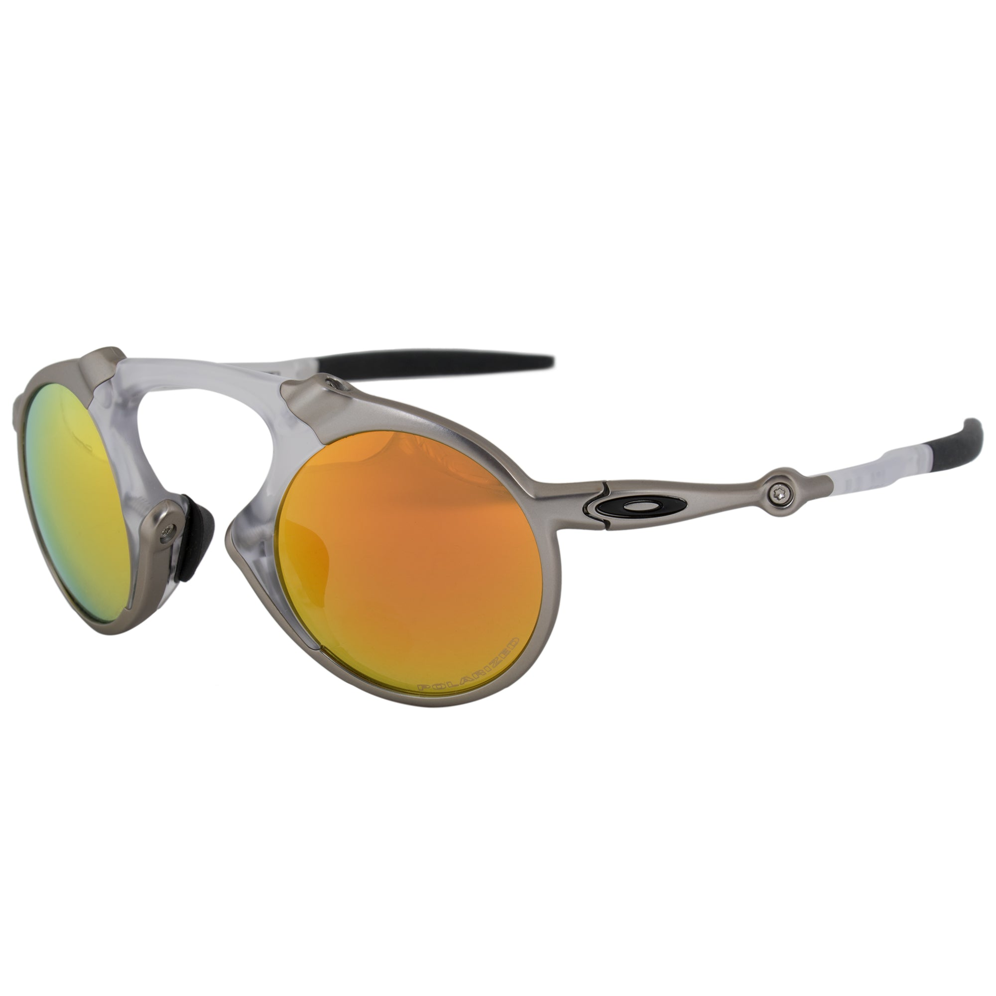 Oakley Madman Round Sunglasses 0OO6019 601907 41 POL | Translucent White and Silver Frame | Polarized Fire Iridium Lense