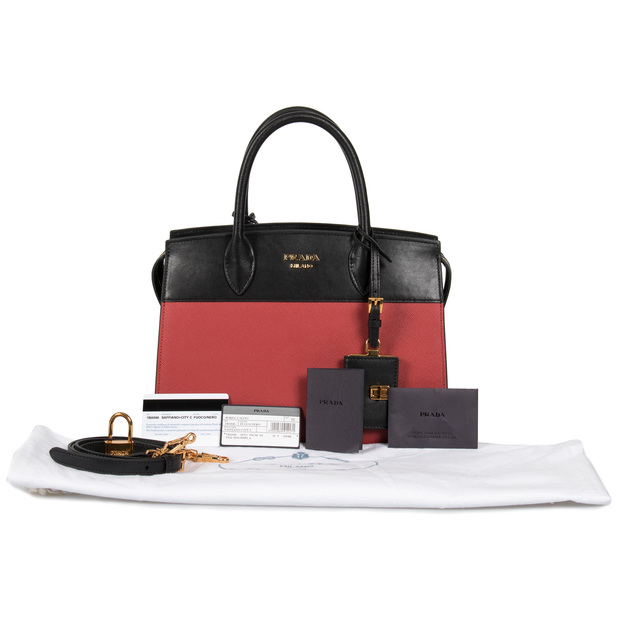 Prada Esplanade Leather Tote In Red and Black