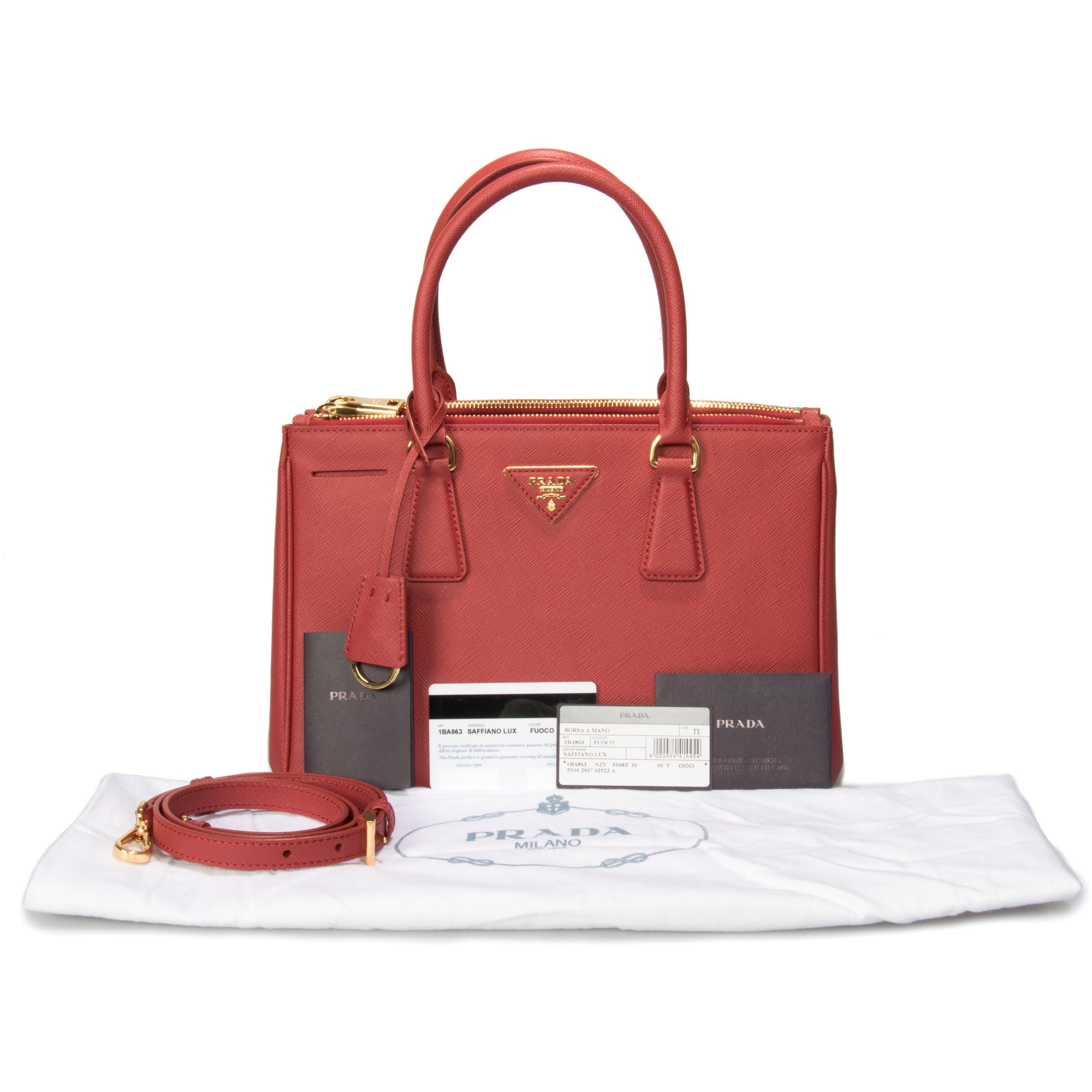 Prada Galleria Saffiano Small Leather Bag in Red