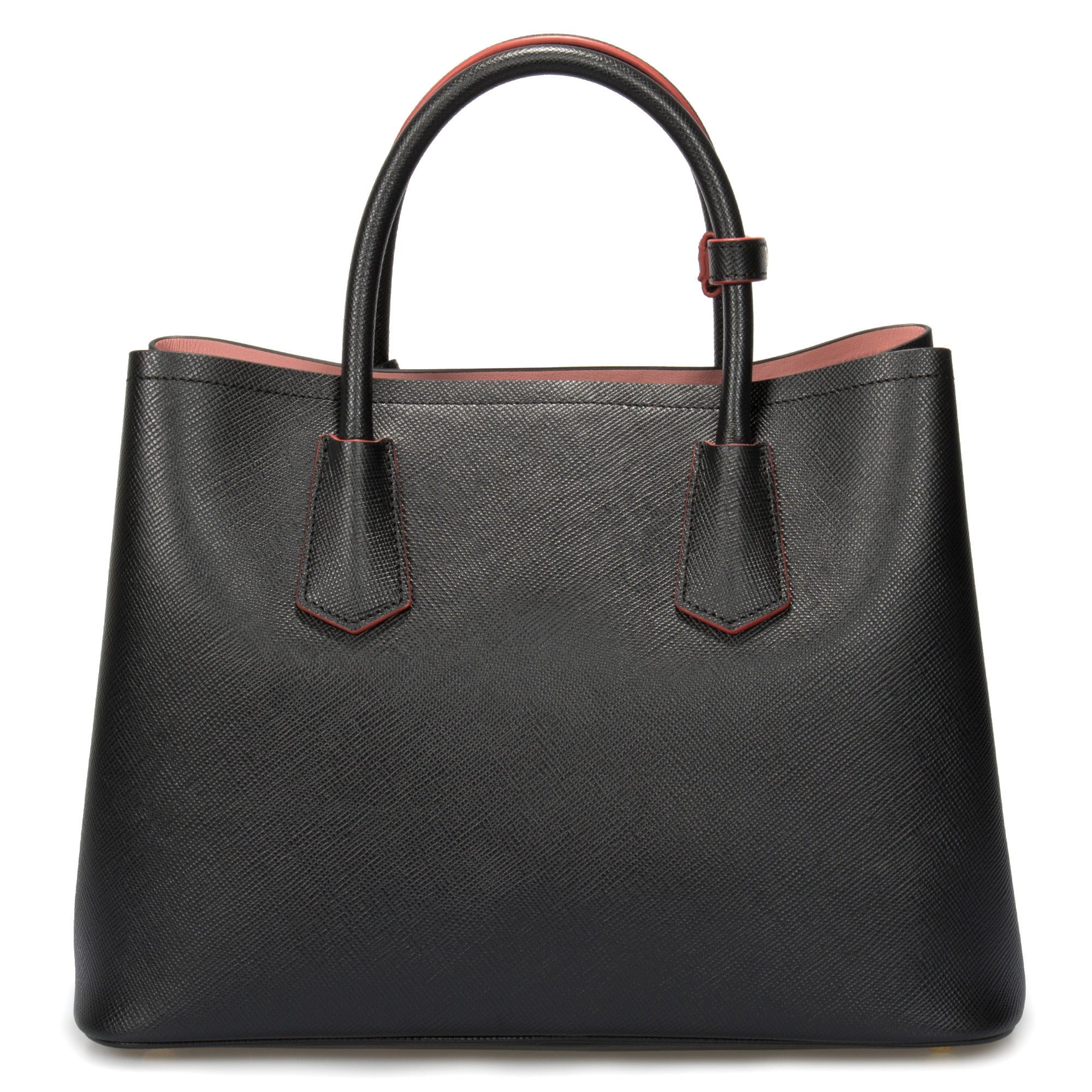Prada Double Saffiano Black Leather Tote In Black