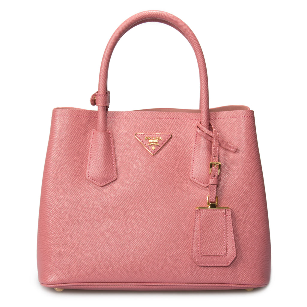 Prada Double Saffiano Leather Tote in Tamaris/Peach