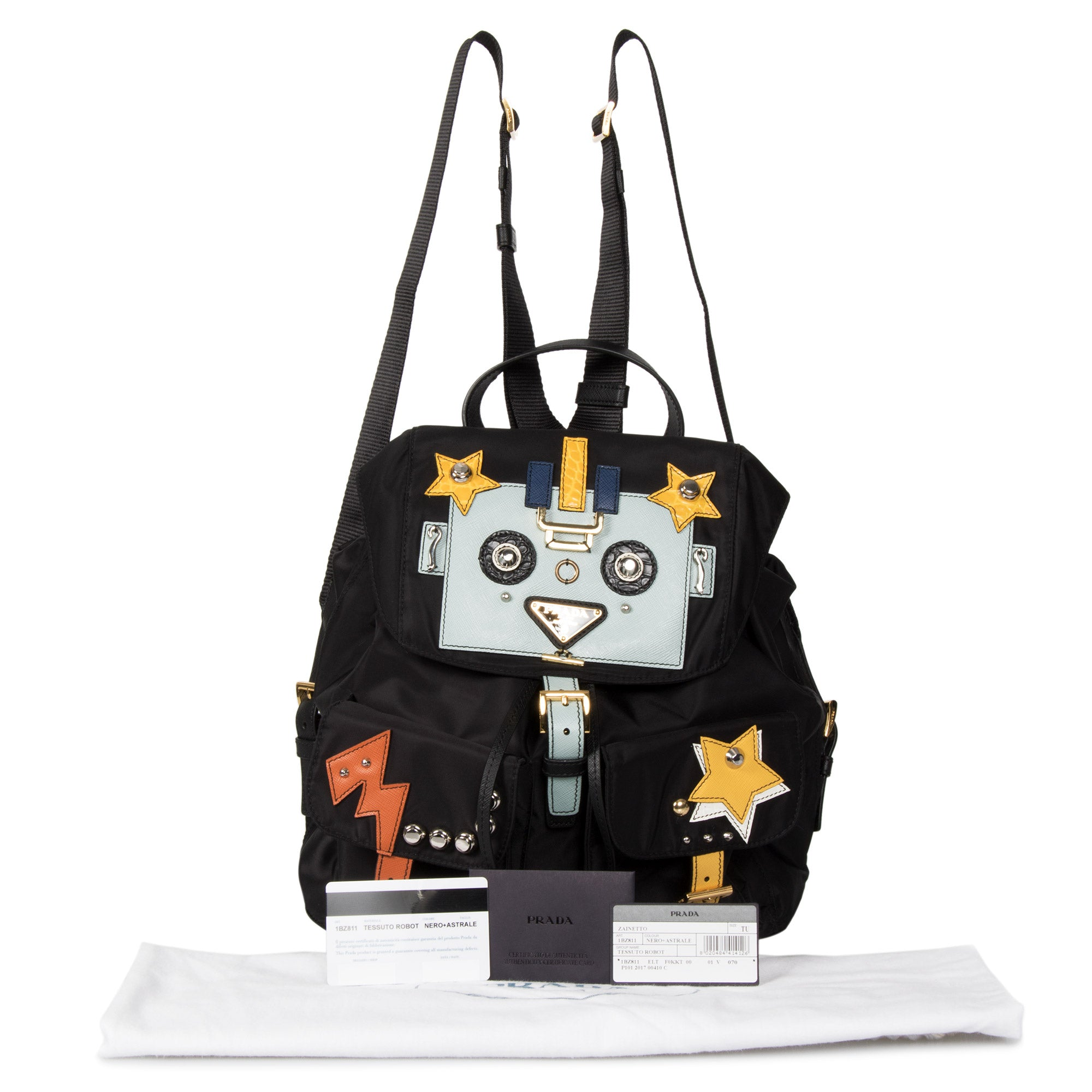 Prada Black Fabric Backpack With Robot Motif
