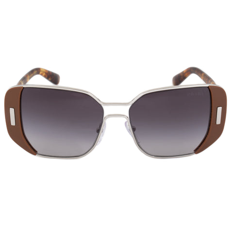 Prada Square Sunglasses PR59SS USA5D1 54 | Silver and Brown Frame | Gray Gradient Lenses