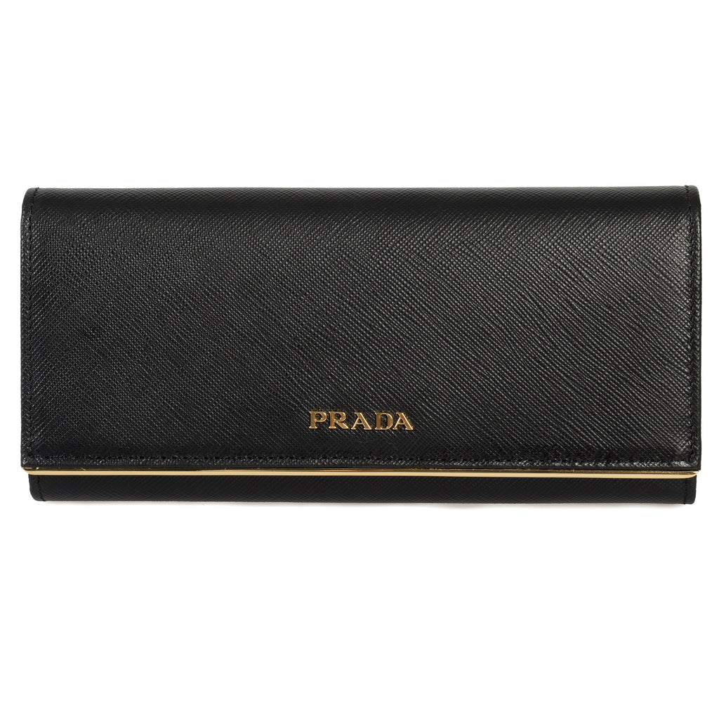 Prada Black Saffiano Leather Flap Wallet With Metal Bar Detail 1MH132 QME F0002