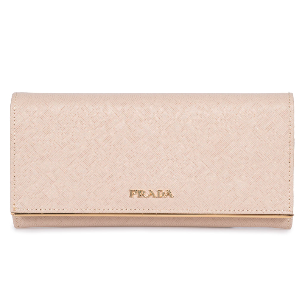 Prada Prada Beige Saffiano Leather Flap Wallet With Metal Bar Detail 1MH132 QME F0236