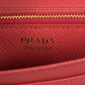 Prada Red Saffiano Leather Flap Wallet With Metal Bar Detail 1MH132 QME F068Z