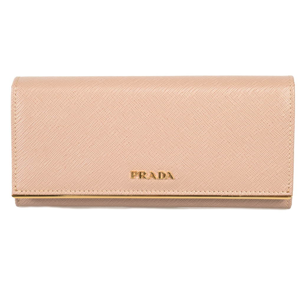 Prada Cameo Saffiano Leather Flap Wallet With Metal Bar Detail 1MH132 QME F0770