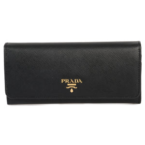 Prada Black Saffiano Leather Flap Wallet 1MH132 QWA F0002