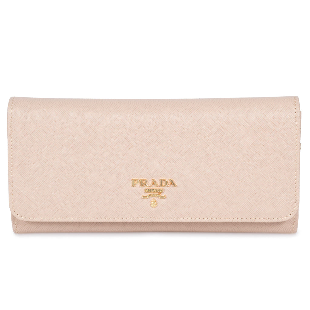 Prada Beige Saffiano Leather Flap Wallet With Metal Bar Detail 1MH132 QWA F0236