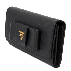 Prada Black Saffiano Leather Flap Wallet With Bow Detail 1MH132 ZTM F0002