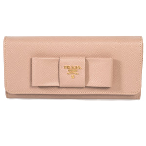 Prada Cameo Saffiano Leather Flap Wallet With Bow Detail 1MH132 ZTM F0770