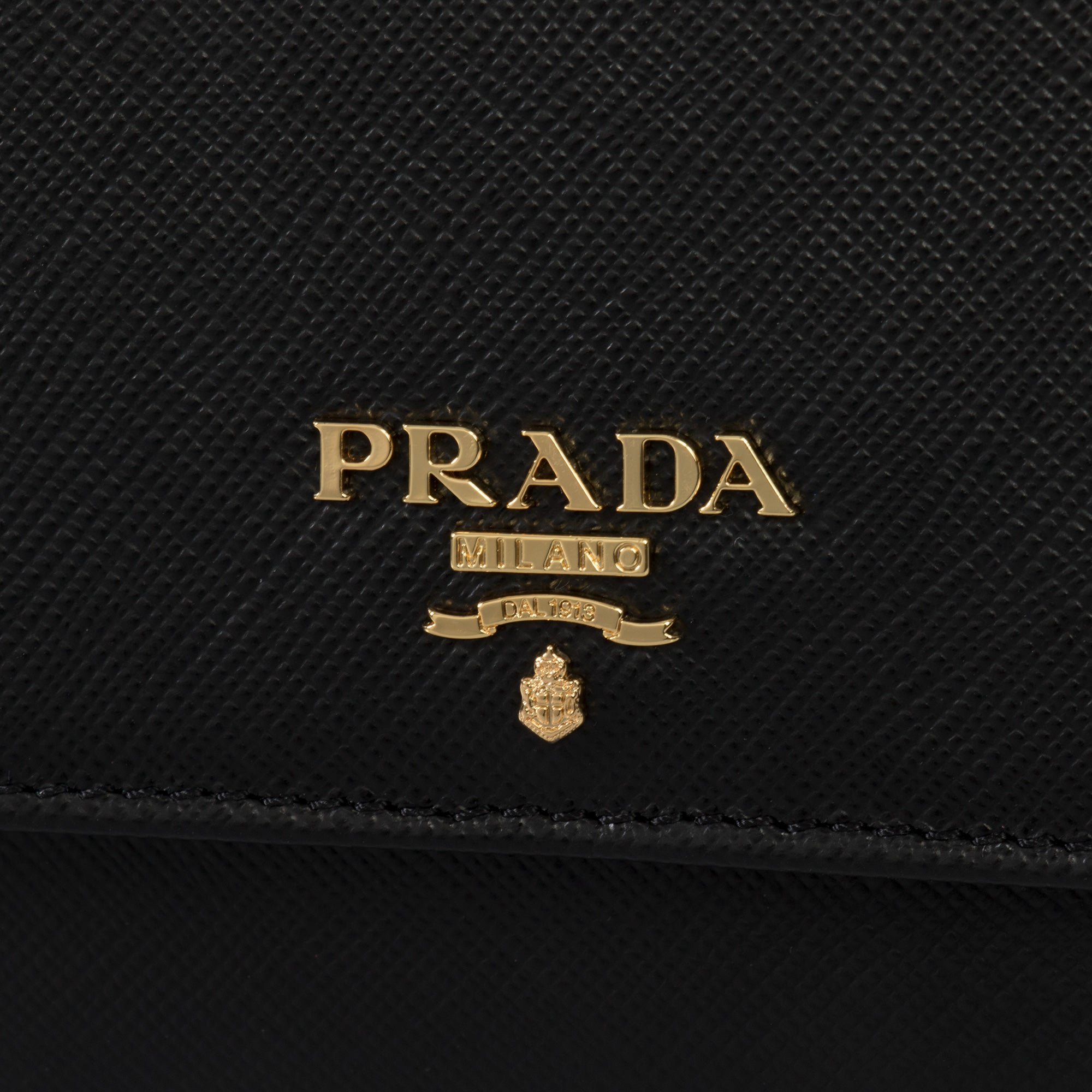 Prada Black Saffiano Leather Flap Wallet 1MH523 QWA F0002