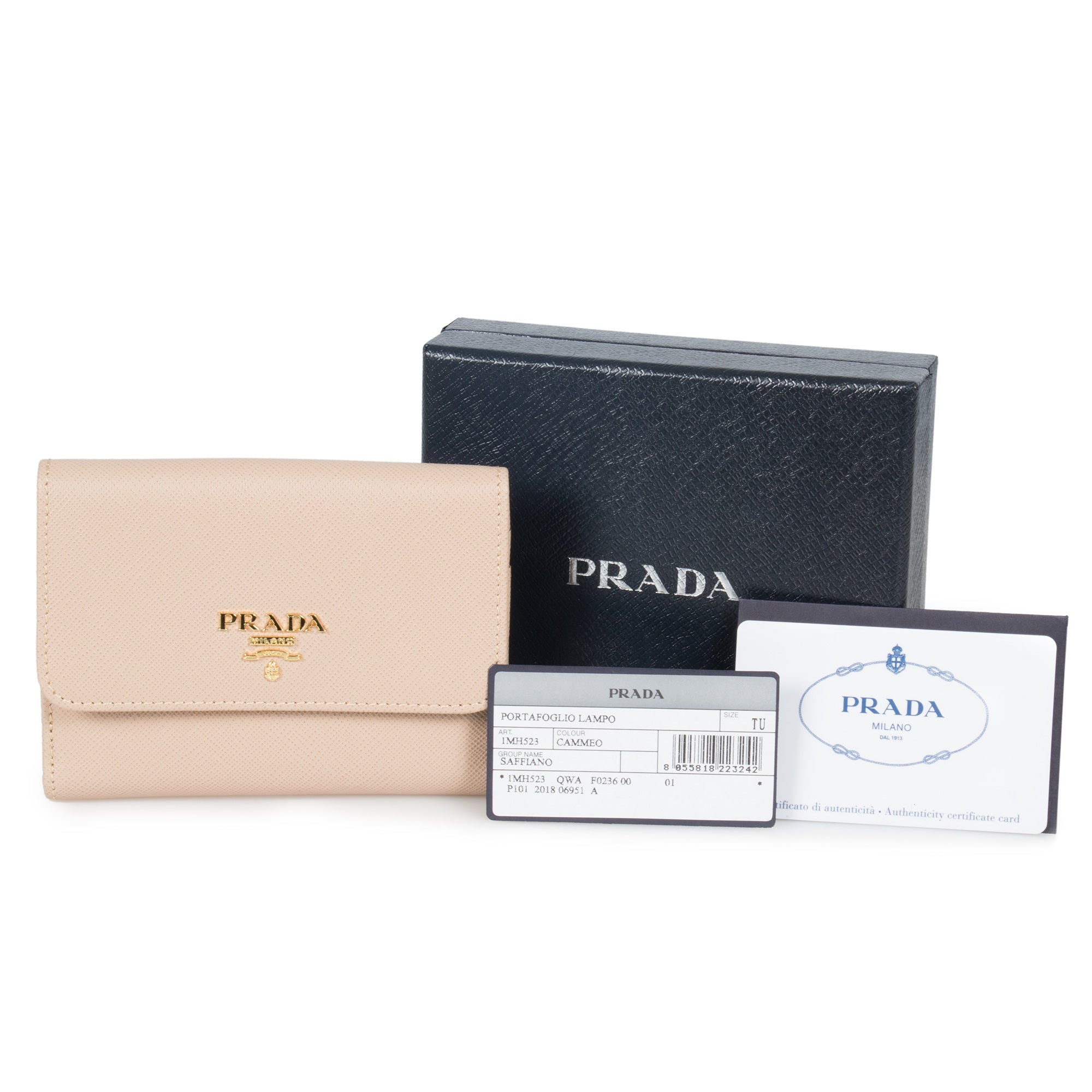 Prada Beige Saffiano Leather Flap Wallet 1MH523 QWA F0236