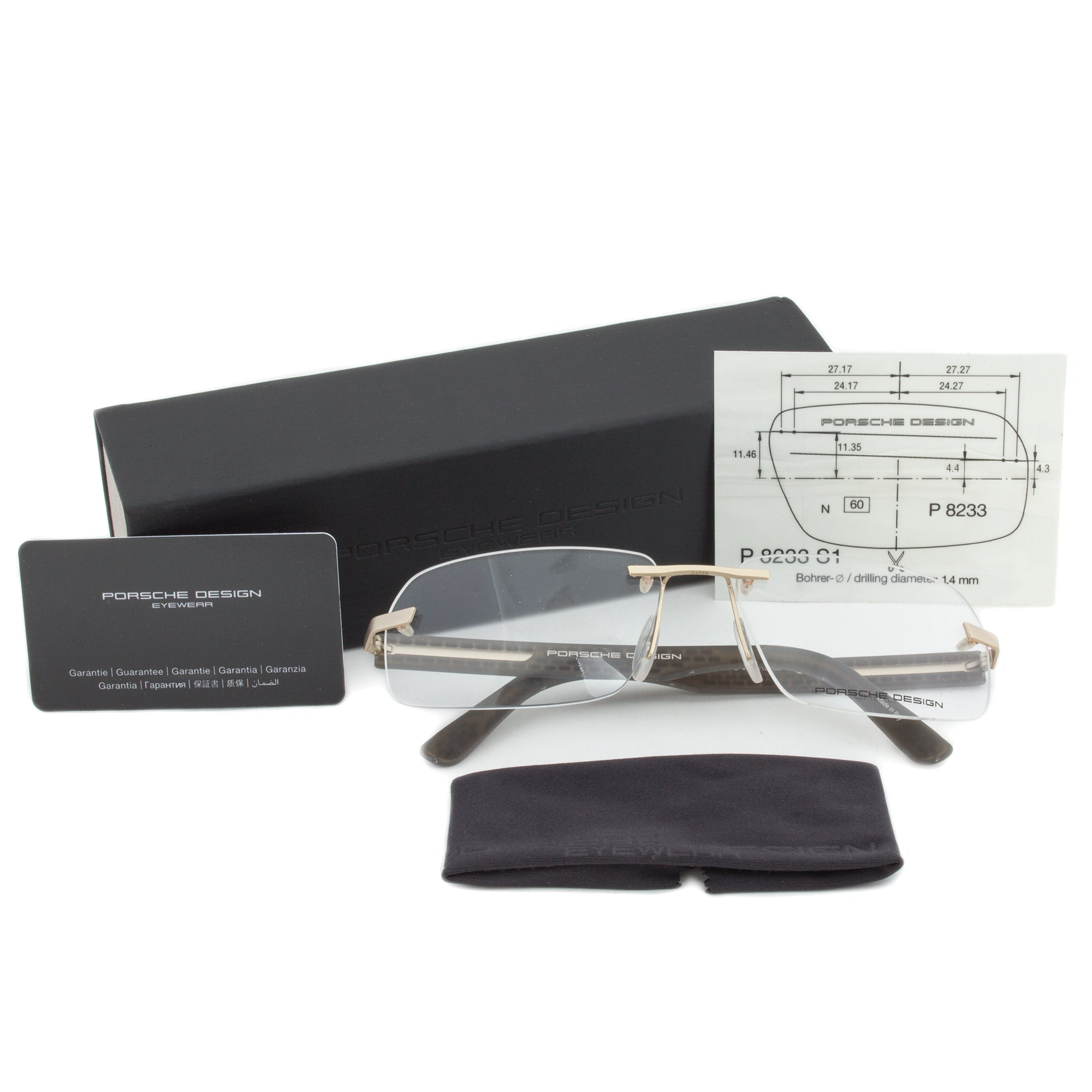 Porsche Design P8233 C Rectangular | Gold/Matte Grey| Eyeglass Frames