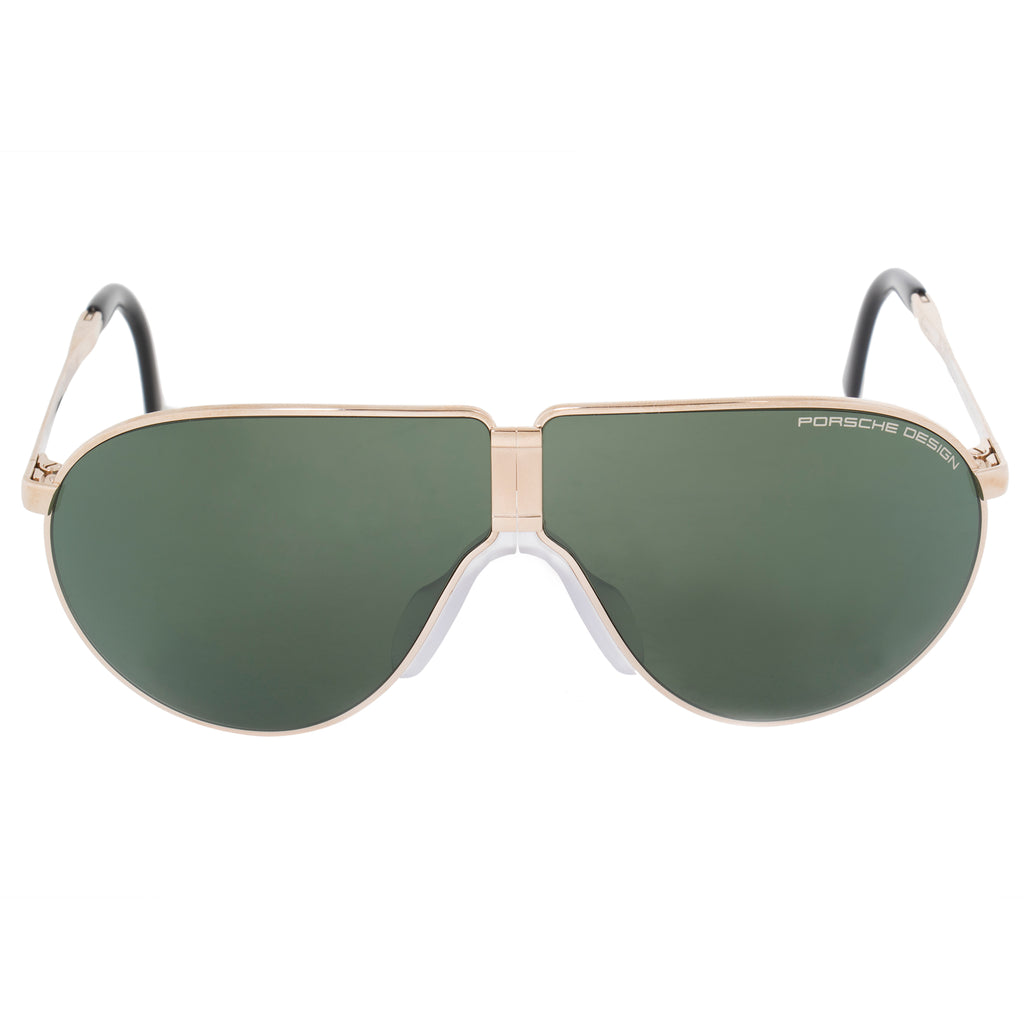 Porsche Design Design Heritage P8480 A 66 Unbreakable Foldable Sunglasses for Men | Light Gold Titanium Frame | Green Mi