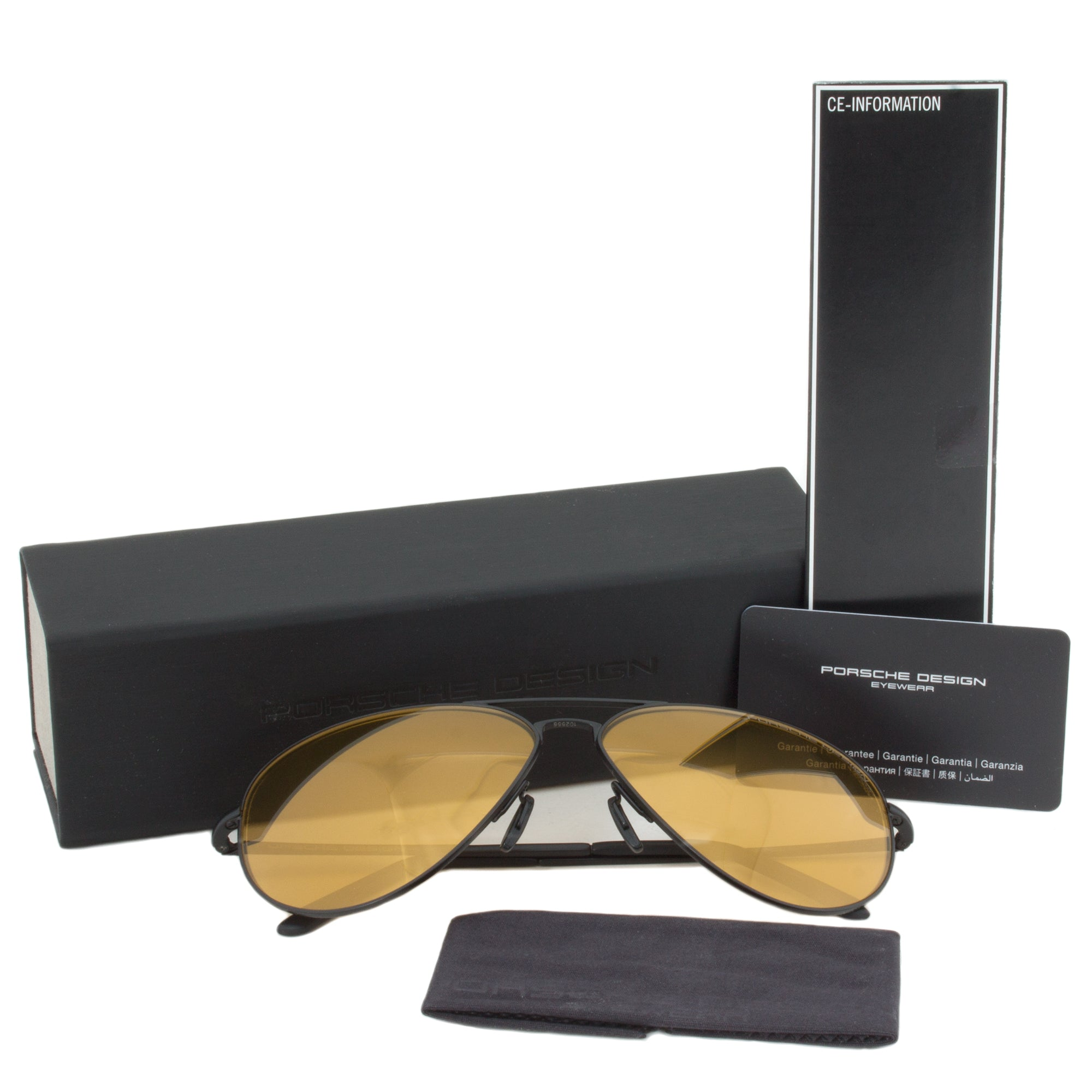 Porsche Design Design P8508I Aviator Sunglasses | Black Frame | Orange Mirrored Lens