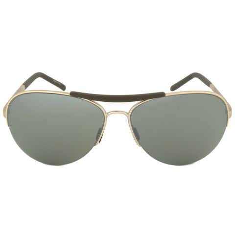Porsche Design Design P8540 C Aviator Sunglasses | Light Gold Frame | Olive Silver Mirror Lens