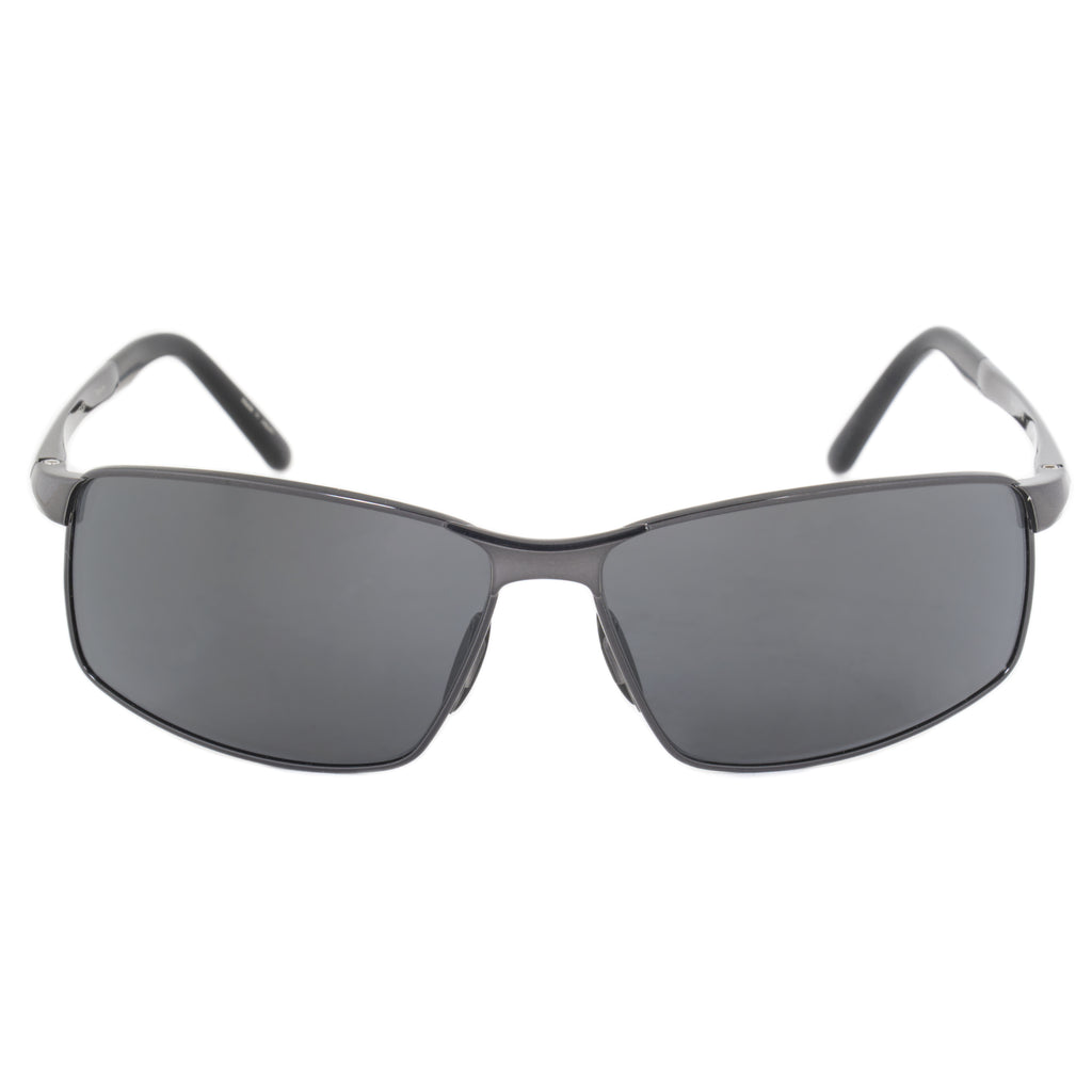 Porsche Design Design P8541 D 63 Rectangle Sunglasses for Men | Gunmetal Titanium Frame | Grey Lens