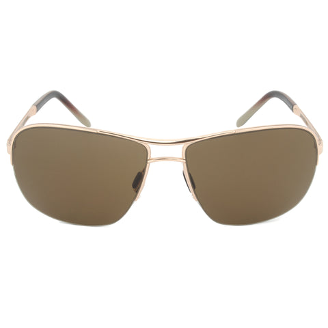 Porsche Design Design P8545 C Rectangular Sunglasses | Gold Frame | Brown Lens