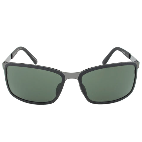 Porsche Design Design P8552 A Rectangular Sunglasses | Black Frame | Green Lens