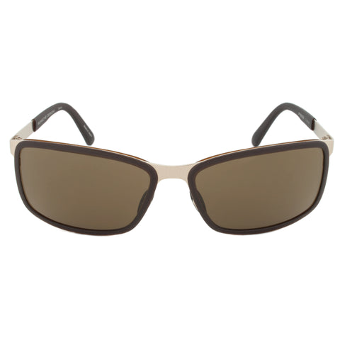 Porsche Design Design P8552 C Rectangular Sunglasses | Gold Frame | Brown Lens