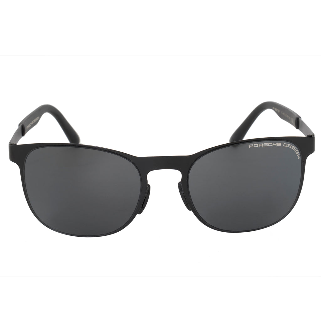 Porsche Design Design Square Sunglasses for Men | Matte Black Titanium Frame | Grey Lens