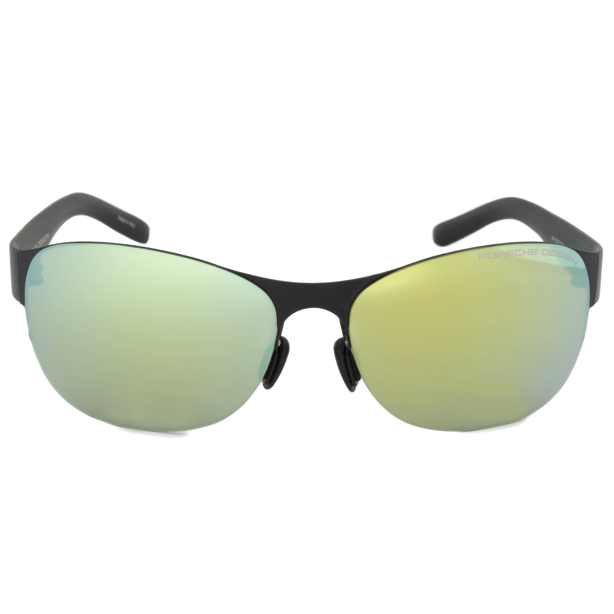 Porsche Design Design P8581 A Oval Sunglasses | Black Frame | Green Lens