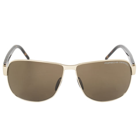 Porsche Design Design P8633 B 61 Aviator Sunglasses for Men | Matte Gold Titanium Frame | Brown Lens