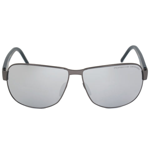 Porsche Design Design P8633 C 61 Aviator Sunglasses for Men | Matte Silver Titanium Frame | Silver Mirrored Lens