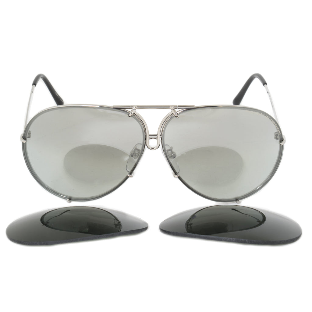 Porsche Design Design P8978 B 69 Aviator Sunglasses for Men | Silver Titanium Frame | Interchangeable Grey Gradient Silv