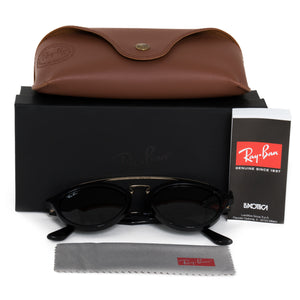 Ray-Ban Round Sunglasses RB4257 60171 50 | Black Acetate Frame | Green Lenses