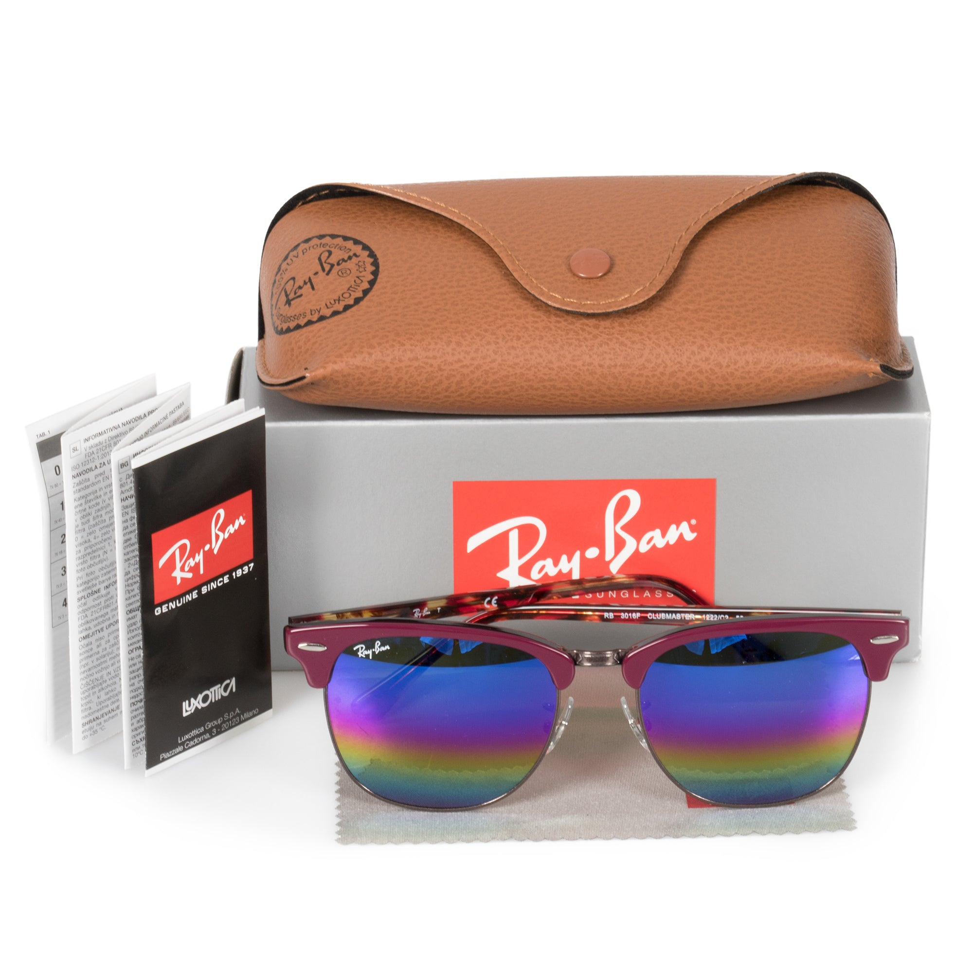 Ray-Ban Clubmaster Mineral Flash Lens Sunglasses RB3016-F 1222C2 55