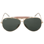 Ray-Ban Aviator Shooter Sunglasses RB3138 001 58 | Gold Frame | Green Lenses