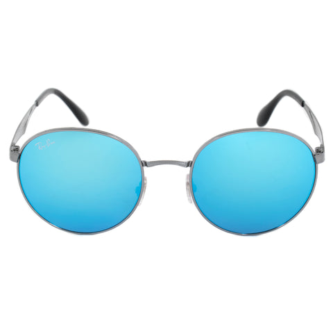 Ray-Ban Round Sunglasses RB3537 00455 51 | Gunmetal Frame | Blue Mirror Lenses