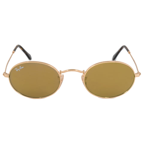 Ray-Ban Oval Flat Lenses Sunglasses RB3547N 00193 48 | Gold Frame | Yellow Flash Lenses