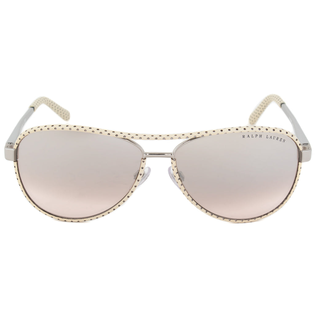 Ralph Lauren Aviator Sunglasses RL7050Q 92978Z 60 | White Polka Dot Frame | Silver Gradient Mirror Lenses