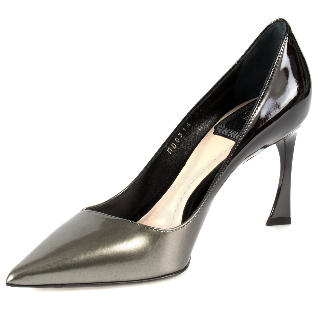Dior Graded Patent Calfskin Pump | 8cm Heel | Grey and Black